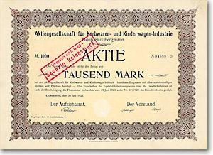 Korbwaren & Kinderwagen-Industrie Hourdeaux-Bergmann, Lichtenfels, Aktie v. 1923