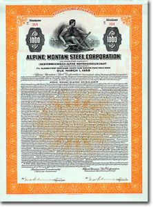 Alpine Montan Steel (heute voestalpine AG), Gold Bond über 1000 $ v. 1925 + RAR!