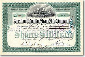 American-Hawaiian Steam Ship, New Jersey, Aktie von 1910 + DEKORATIV + SELTEN!