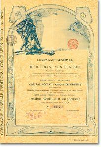 Éditions Lyon-Claesen, Brüssel, Aktie von 1899 + KUNST AUF WERTPAPIEREN!