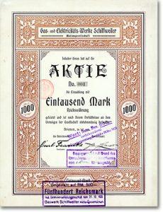 Gas- und Elektricitäts-Werke Schiffweiler, Bremen, Gründeraktie Nr. 1 von 1900
