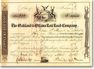 Oakland & Ottawa Rail Road, Detroit, Mich., Aktie von 1855 + DEKORATIV + RAR!