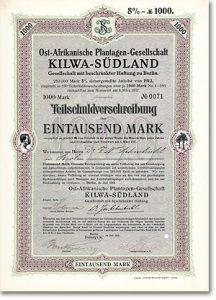 Ost-Afrikanische Plantagen-Gesellschaft Kilwa-Südland, Berlin, Anleihe von 1913