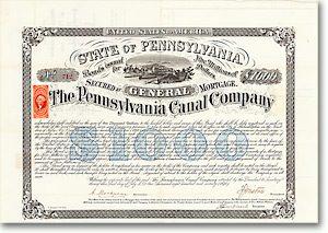 Pennsylvania Canal Company, Philadelphia, Bond über 1000 $ von 1870 + AUTOGRAPH!