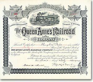 Queen Anne's Railroad Co., Centreville, Md., Aktie von 1904 + SEHR DEKORATIV!