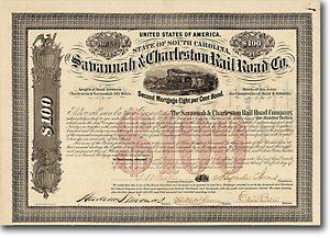 Savannah & Charleston Rail Road, South Carolina, Bond über 100 $ von 1871