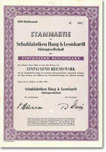 Schuhfabriken Haug & Leonhardt, Eppendorf, Sa., 1000 RM Aktie Nr. 1 von 1942