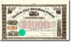 Shoshone Chief Silver Mining Co., New York, Bond über 1000$ von 1865 + RARITÄT!