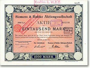Siemens & Halske AG, Berlin, Aktie von 1919 + GESTALTET VON SÜTTERLIN + RAR!