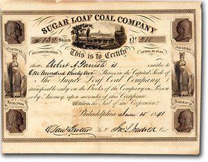 Sugar Loaf Coal Co., Philadelphia, Aktie von 1841 + SEHR DEKORATIV + RARITÄT!