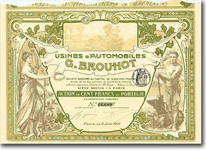 Usines d'Automobiles G. Brouhot, Paris, Aktie v. 1906 + EIN WUNDERSCHÖNES PAPIER