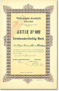 Volksbade-Anstalt Neuss, Aktie über 250 Mark von 1897 + NUR 3 STÜCK BEKANNT!