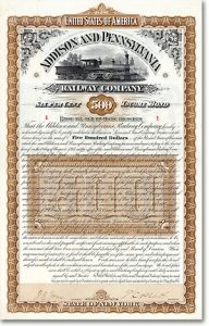 Addison & Pennsylvania Railway 500$ Bond Nr. 1 von 1887 HOCHDEKORATIV + RAR!