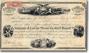 Atlantic and Great Western Rail Road (of Ohio) Aktie von 1865 SELTENST!