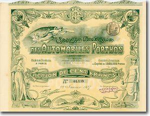 Automobiles Porthos, Paris Aktie von 1907 KUNST AUF WERTPAPIEREN! + HERRLICH!