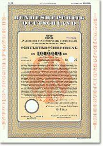 BRD Entwicklungshilfeanleihe über 1 Million DM von 1961 G&D-Muster + RARITÄT!