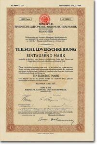 Benz & Cie. Rheinische Automobil- & Motorenfabrik Mannheim, Anleihe von 1920 + RAR!