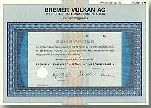 Bremer Vulkan AG Schiffbau & Maschinenfabrik, Bremen Aktie über 500 DM von 1982