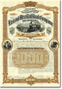 East & West Railroad Co. of Alabama Gold Bond über 1000 $ von 1886 PRACHTVOLL!