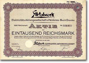 Elbtalwerk Elektrizitäts-AG Heidenau, Bezirk Dresden, 1936 1000 RM Aktie Nr. 1