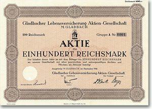 Gladbacher Lebensversicherung, M. Gladbach Aktie Nr. 1 über 100 RM von 1938