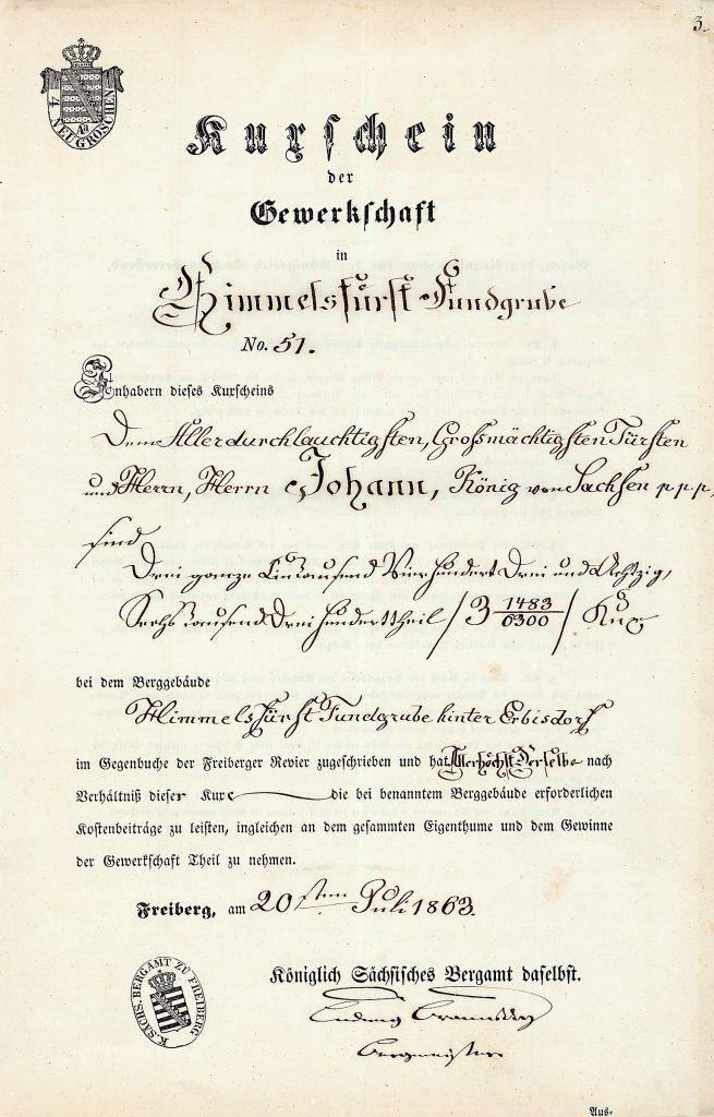 Kuxschein der Grube Himmelsfürst aus dem Jahr 1863, eingetragen auf den König Johann von Sachsen