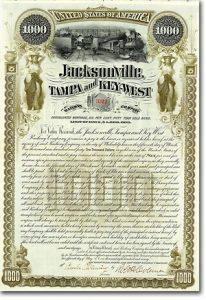 Jacksonville, Tampa & Key-West Railway Gold Bond 1000$ von 1890 HOCHDEKORATIV!