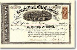 Jersey Well Oil, Philadelphia Aktie von 1865 SEHR DEKORATIV + ÄUSSERST SELTEN!