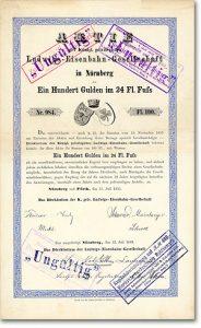 Ludwigs-Eisenbahn Nürnberg und Fürth Aktie über 100 Gulden von 1835/1869