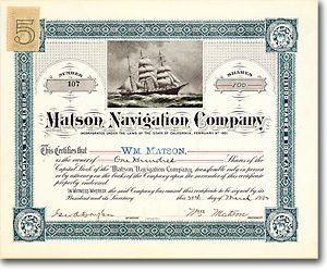 Matson Navigation Co., California Aktie von 1902 AUTOGRAPH MATSON + RARITÄT!