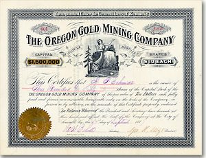 Oregon Gold Mining, Louisville Aktie von 1887 DEKORATIV + RARITÄT!