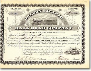 Oregon Pacific Railroad Aktie von 1889 AUTOGRAPH THOMAS EGENTON HOGG