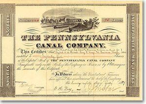 Pennsylvania Canal, Philadelphia Aktie von 1870 AUTOGRAPH ISAAC JONES WISTAR!