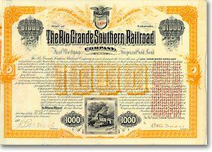 Rio Grande Southern RR, Denver, Col. Gold Bond von 1890 AUTOGRAPH OTTO MEARS