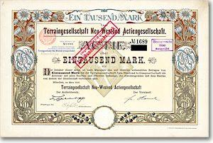 Terraingesellschaft Neu-Westend, München Gründeraktie von 1900 IM JUGENDSTIL!
