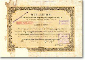 UNION Deutsche Hagelversicherung, Weimar Gründeraktie von 1853, 500 Taler AUTOGRAPH: BRÜGGEMANN