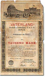 Vaterland Deutsches Kaffeehaus, Berlin Anteilschein über 1000 Mark von 1914