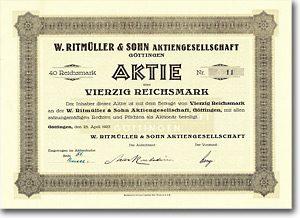 W. Ritmüller & Sohn AG, Göttingen 40 RM Aktie von 1927 NUR 7 STÜCKE EXISTENT!