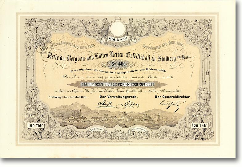 Bergbau- und Hütten-AG zu Stolberg am Harz Gründeraktie über 100 Taler von 1861 SEHR GESUCHT!
