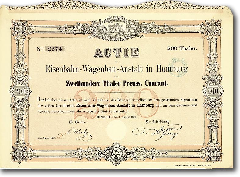 Eisenbahn-Wagenbau-Anstalt, Hamburg Gründeraktie über 200 Taler von 1871 RAR!
