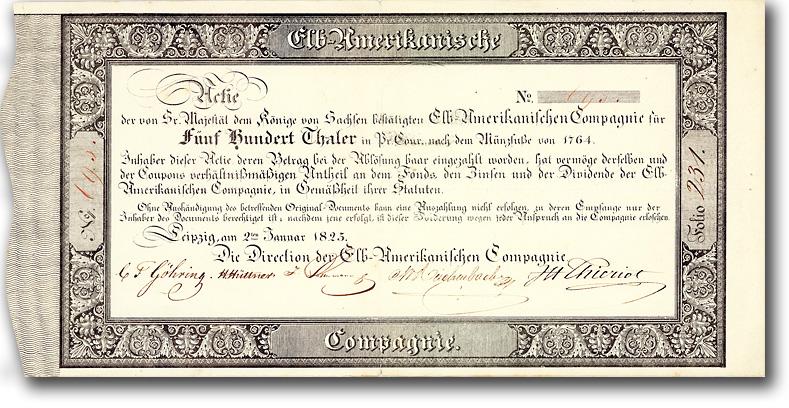 Elb-Amerikanische Compagnie, Leipzig, Gründeraktie über 500 Taler von 1825, MUSEAL