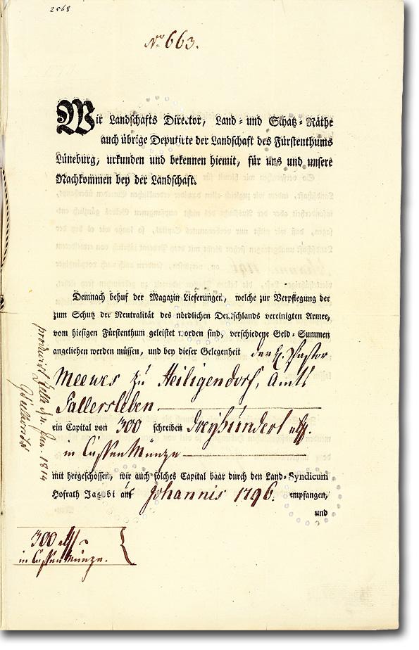 Landschaft des Fürstenthums Lüneburg, Celle, Zwangsanleihe über 300 Taler von 1796. Unikat. Museal. Autograph: Bankier Ephraim Meyer!