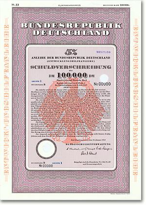 Bundesrepublik Deutschland, Bad Homburg, 100.000 DM Anleihe von 1961 + RARITÄT! Entwicklungsanleihe: Zwangsanleihe der dt. Wirtschaft