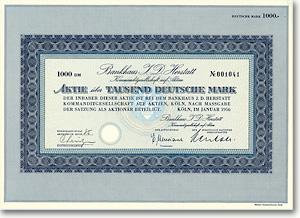 Bankhaus I. D. Herstatt, Köln, Gründeraktie über 1.000 DM von 1956 + SELTEN!