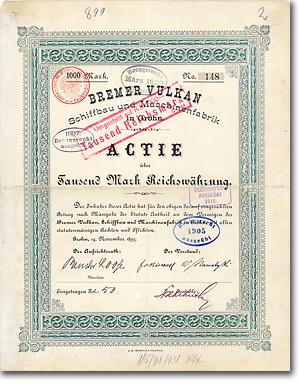 Bremer Vulkan Schiffbau & Maschinenfabrik, Grohn, Gründeraktie von 1893 + MUSEAL Autograph: Paul Zschörner + Viktor Nawatzki (Gründer!)
