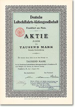 Deutsche Luftschiffahrts-AG, Frankfurt, Aktie von 1910, DELAG-Gründungspapier! Sehr seltene Aktie der ersten Fluggesellschaft der Welt