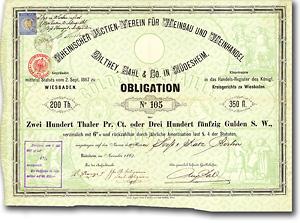 Rheinischer Verein für Weinbau Dilthey, Rüdesheim, 1867, Anleihe über 100 Taler