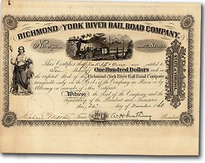 Richmond & York River Rail Road, Aktie von 1868 + ÄUSSERST SELTEN + DEKORATIV!