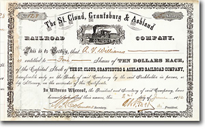 St. Cloud, Grantsburg & Ashland Railroad, Minnesota, Aktie von 1892 + SELTEN!