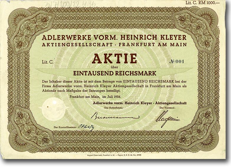 Adlerwerke vorm. Heinrich Kleyer, Frankfurt a.M., 1934, 1000 RM Aktie Nr. 1 !!!